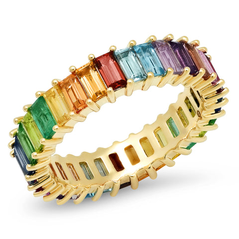 14K Yellow Gold Multi Colored Vertical Baguette Ring