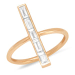 Rose Gold Diamond Baguette Stick Ring