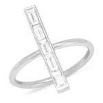 White Gold Diamond Baguette Stick Ring