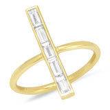 Yellow Gold Diamond Baguette Stick Ring