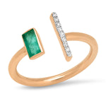 Rose Gold Open Emerald and Diamond Bar Ring