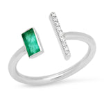 White Gold Open Emerald and Diamond Bar Ring