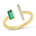 Yellow Gold Open Emerald and Diamond Bar Ring