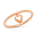 14K Rose Gold Hanging Heart Ring