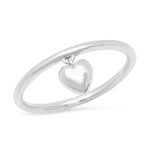 14K White Gold Hanging Heart Ring