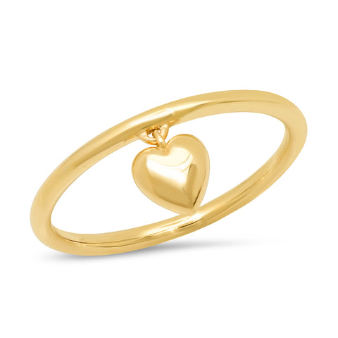14K Yellow Gold Hanging Heart Ring