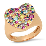 Rose Gold Multi Colored Heart Signet Ring