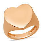 14K Rose Gold Solid Gold Heart Signet Ring