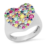 White Gold Multi Colored Heart Signet Ring