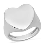 14K White Gold Solid Gold Heart Signet Ring