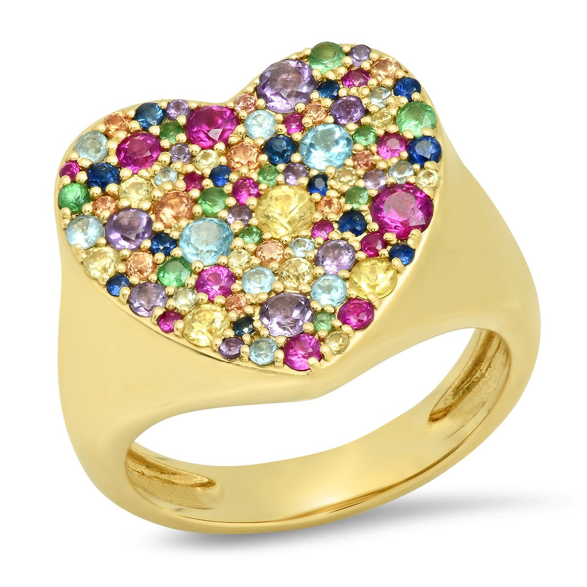 Yellow Gold Multi Colored Heart Signet Ring