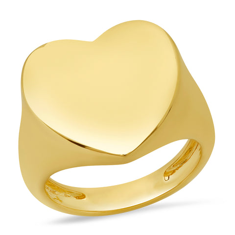 14K Yellow Gold Solid Gold Heart Signet Ring