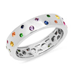 14K White Gold Multi Colored Polka Dot Ring