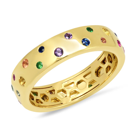 14K Yellow Gold Multi Colored Polka Dot Ring