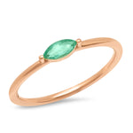 14K Rose Gold Emerald Marquise Ring
