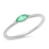 14K White Gold Emerald Marquise Ring