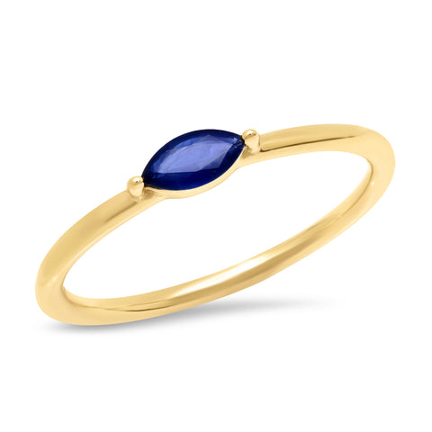 14K Yellow Gold Blue Sapphire Marquise Ring