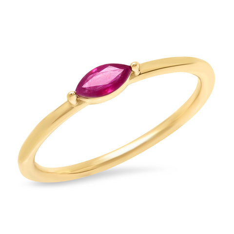 14K Yellow Gold Ruby Marquise Ring