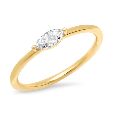 14K Yellow Gold Diamond Marquise Ring