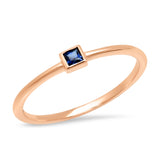 14K Rose Gold Blue Sapphire Princess Cut Pinky Ring