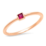 14K Rose Gold Ruby Princess Cut Pinky Ring