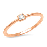 14K Rose Gold Diamond Princess Cut Pinky Ring