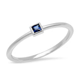 14K White Gold Blue Sapphire Princess Cut Pinky Ring