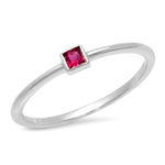 14K White Gold Ruby Princess Cut Pinky Ring