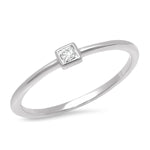 14K White Gold Diamond Princess Cut Pinky Ring