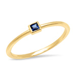14K Yellow Gold Blue Sapphire Princess Cut Pinky Ring