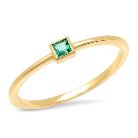14K Yellow Gold Emerald Princess Cut Pinky Ring