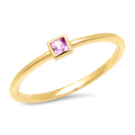 14K Yellow Gold Pink Sapphire Princess Cut Pinky Ring