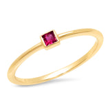 14K Yellow Gold Ruby Princess Cut Pinky Ring
