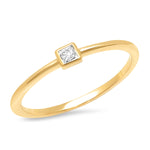 14K Yellow Gold Diamond Princess Cut Pinky Ring
