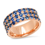 14K Rose Gold Triple Row Blue Sapphire Band