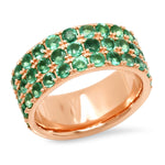 14K Rose Gold Triple Row Emerald Band