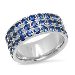 14K YWhite Gold Triple Row Blue Sapphire Band