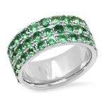 14K White Gold Triple Row Emerald Band