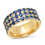 14K Yellow Gold Triple Row Blue Sapphire Band