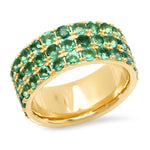 14K Yellow Gold Triple Row Emerald Band