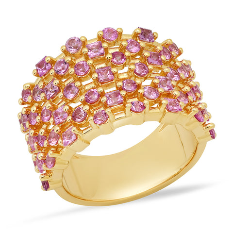 14K Yellow Gold Pink Sapphire Confetti Ring