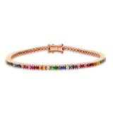 14K Rose Gold Rainbow Classic Tennis Bracelet