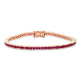 Rose Gold Ruby Classic Tennis Bracelet