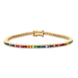 14K Yellow Gold Rainbow Classic Tennis Bracelet