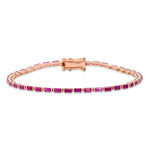 Rose Gold Ruby Baguette Tennis Bracelet