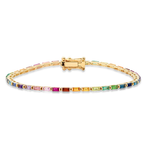 Yellow Gold Rainbow Baguette Tennis Bracelet