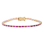 Yellow Gold Ruby Baguette Tennis Bracelet