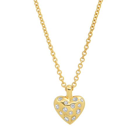 Yellow Gold Mini Reversible Diamond and Gold Puffy Heart Necklace