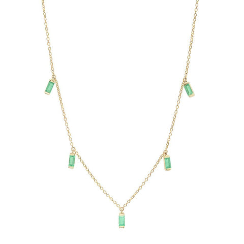 14K Yellow Gold Emerald Baguette Necklace