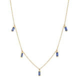 Eriness Jewelry Blue Sapphire Baguette Necklace